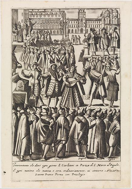Fascinating Historical Picture of  with Intartenimento che demo ogni giorno li Ciarlatani from Habiti dhuomeni et donne Venetiane in 1610