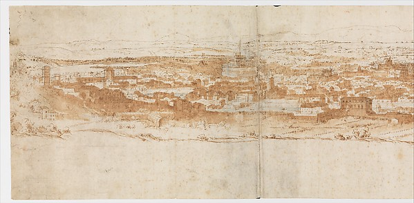 View of Rome from the Janiculum in the South-West; verso: Sketch of buildings and plants