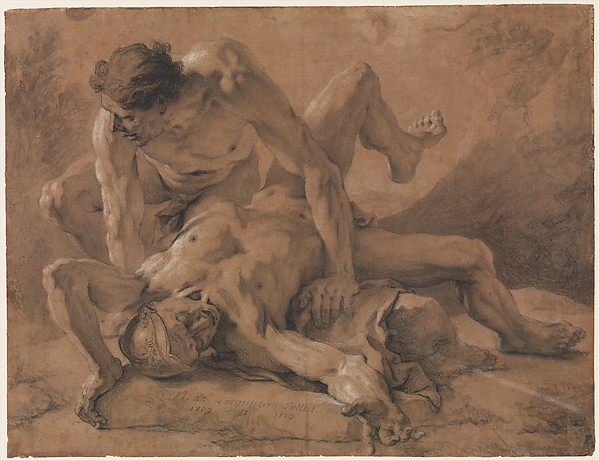 Two Nude Male Figures Struggling Together