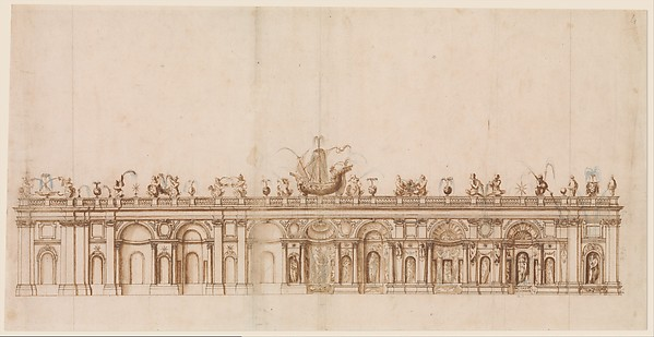 Fascinating Historical Picture of Giovanni Guerra with Design after a Fountain in the Villa Aldobrandini at Frascati. in 1590