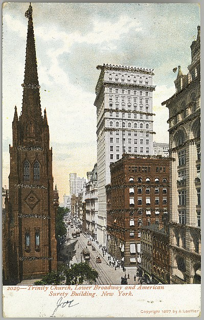 Trinity Church, Lower Broadway and American Surety Building Postcard