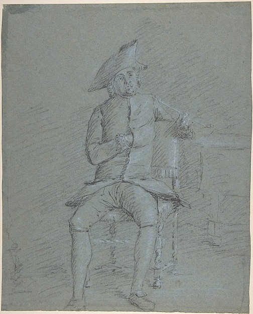 Fascinating Historical Picture of Francisco Bayeu y Subias with Seated Gentleman Holding a Pipe (recto); Half-Length Study of the Same Man (verso) in 1734