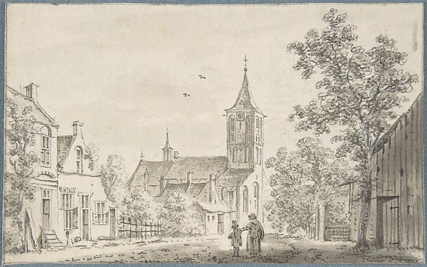 Village Street Scene with a Church
