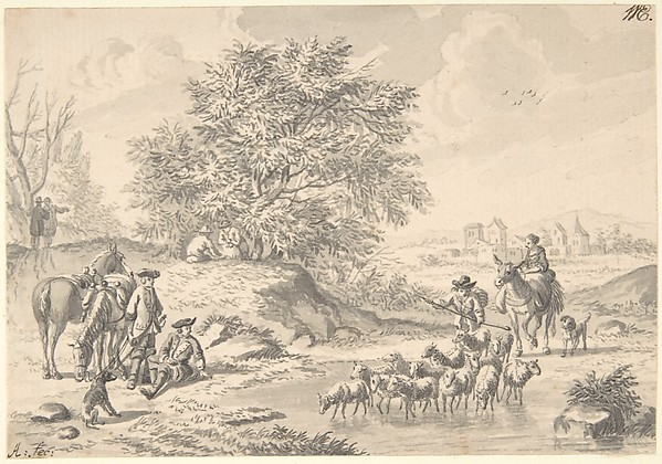 Landscape with Resting Cavaliers and a Shepherd with his Flock