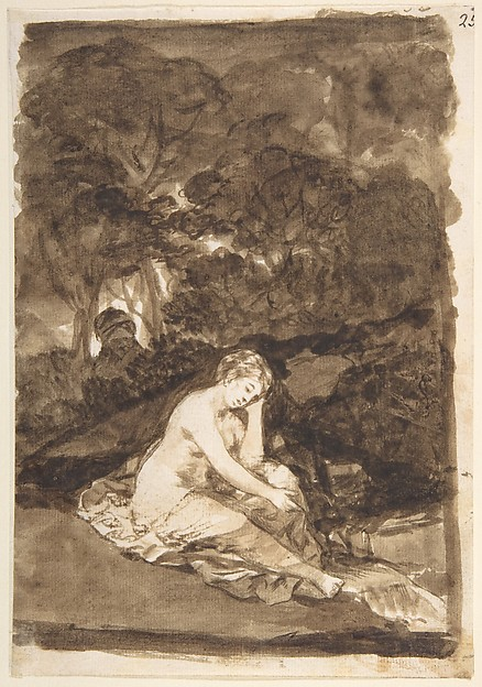 A Nude Woman Seated Beside a Brook (Summer?), from Images of Spain Album (F), page 32