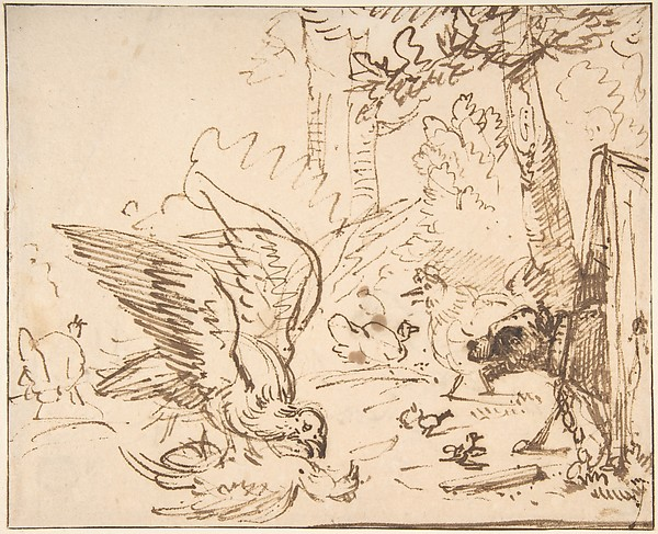 Barnyard Scene: two birds fighting (recto)