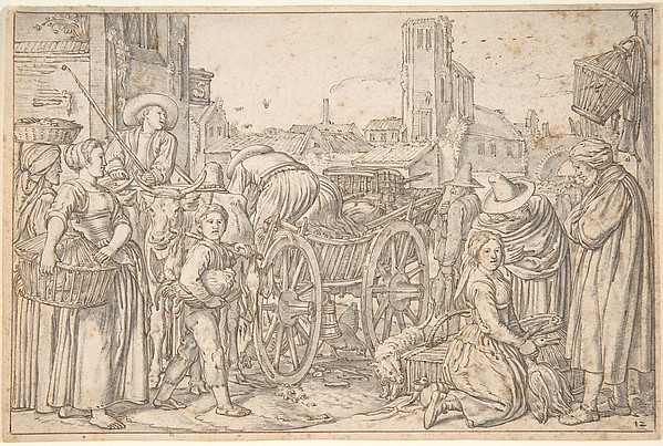 Fascinating Historical Picture of Willem Pietersz. Buytewech with A Poultry Market in a Dutch Town in 1621