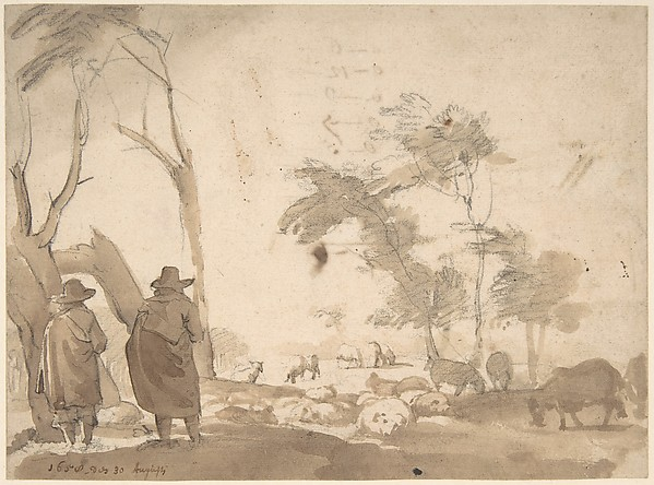 Fascinating Historical Picture of Jacob van der Does with Landscape with Sheep and Two Figures (recto); Faint Sketch of a Figure with a Hat (verso) in 1623
