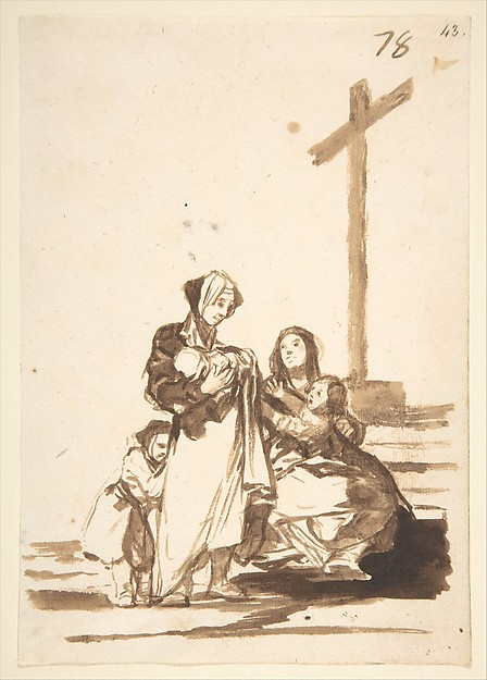 Women with Children by a Wayside Cross, from Images of Spain Album (F), 78