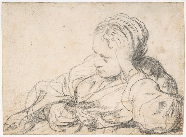 A Woman Asleep (recto);  Landscape Composition with Well-Sweep (verso)