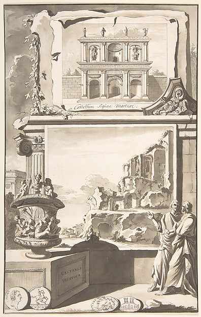 Fascinating Historical Picture of Jan Goeree with A Reconstruction of the Castellum Aquiae Martiae (above) and a View of the Ruins (below) in 1704