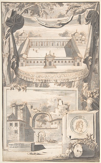 Fascinating Historical Picture of Jan Goeree with A Reconstruction of the Thermae of Nero (above) and a View of the Ruins (below) in 1704