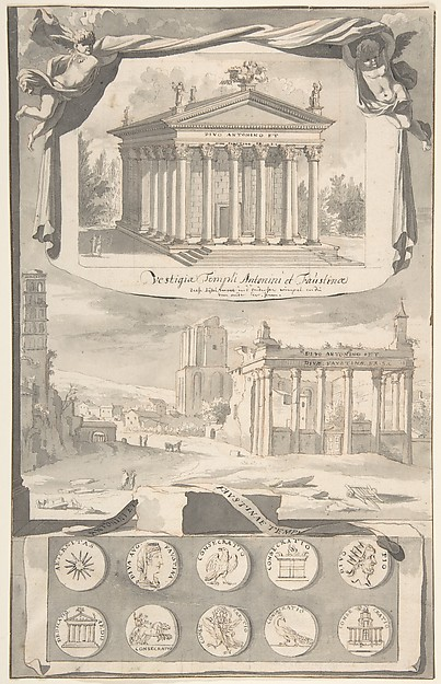 Fascinating Historical Picture of Jan Goeree with A Reconstruction of the Temple of Antonious and Faustina (above) and a View of the Ruins (below) in 1704