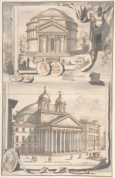 Fascinating Historical Picture of Jan Goeree with A Reconstuction of the Pantheon (above) and a View of its Appearance Around 1700 (below) in 1704