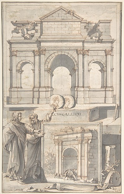 Fascinating Historical Picture of Jan Goeree with A Reconstruction of the Arch of Gallienus (above) and a View of the Ruins (below) in 1704