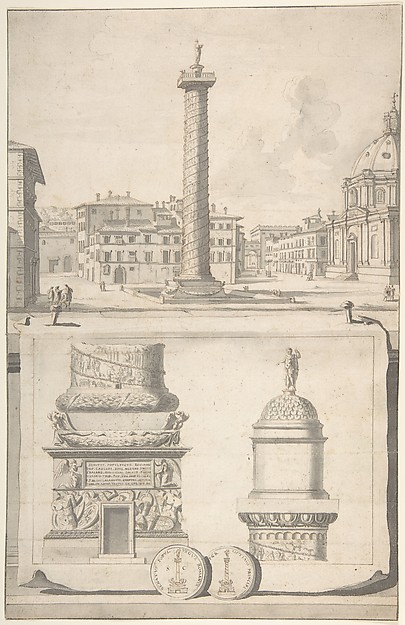 Fascinating Historical Picture of Jan Goeree with A View of the Column of Trajan (above) with Details (below) in 1704