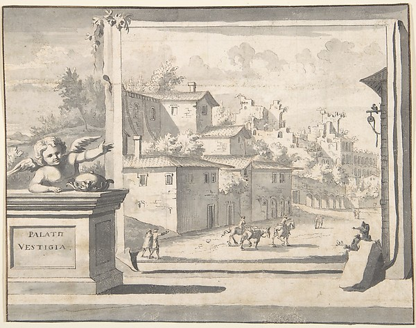 Fascinating Historical Picture of Jan Goeree with View of the Ruins of the Palatine Hill in 1704