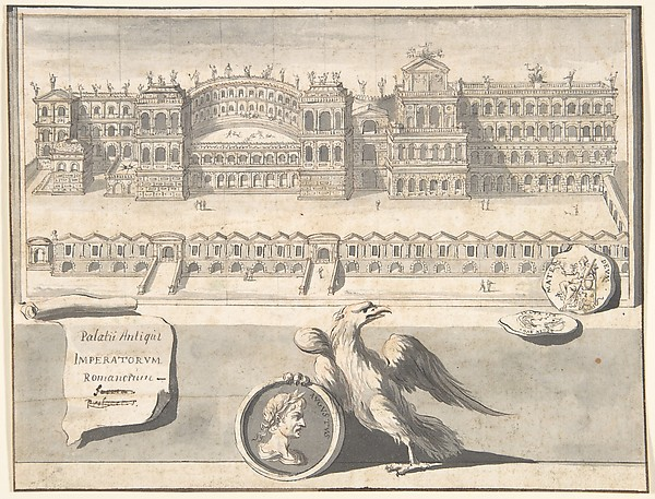 Fascinating Historical Picture of Jan Goeree with A Reconstructed View of the Palace on the Palantine Hill in 1704