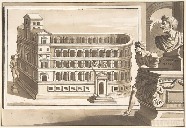Fascinating Historical Picture of Jan Goeree with A Reconstruction of the Theatre of Pompey in 1704