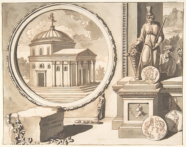 Fascinating Historical Picture of Jan Goeree with A Recontruction of the So-Called Temple of Serapidis in 1704