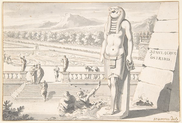 Fascinating Historical Picture of Jan Goeree with Statue of Osiris in a Garden. in 1704