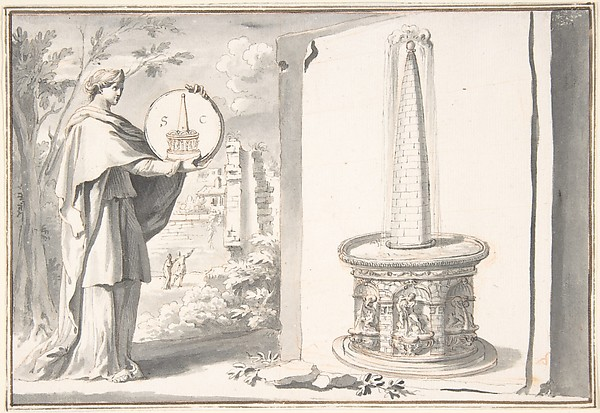 Fascinating Historical Picture of Jan Goeree with Female Figure Holding a Coin and Image of a Fountain in 1704
