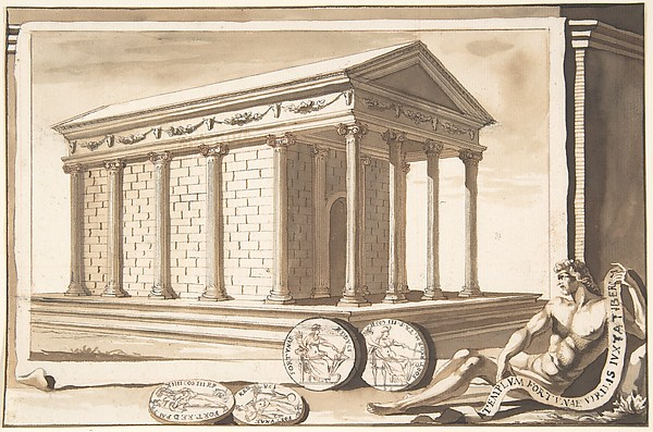 Fascinating Historical Picture of Jan Goeree with A Reconstruction of the Temple of Fortuna in 1704