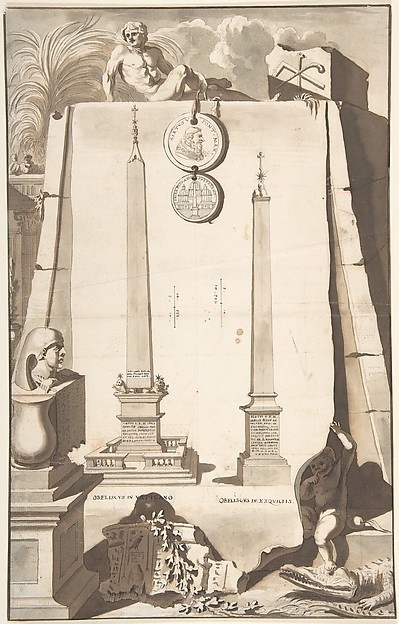 Fascinating Historical Picture of Jan Goeree with A View of Two Obelisks One in the Vatican and the Other on the Esqualine Hill. in 1704