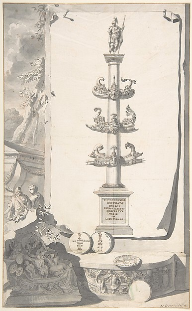 Fascinating Historical Picture of Jan Goeree with A Reconstruction of the Base of the Column Rostrata. in 1704