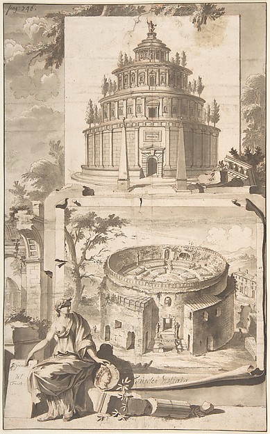Fascinating Historical Picture of Jan Goeree with A Reconstruction of the Mausoleum of Augustus (above) and a View of the Ruins (below) in 1704