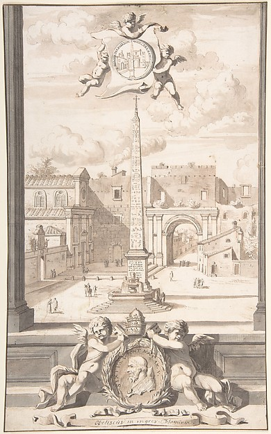 Fascinating Historical Picture of Jan Goeree with A Reconstruction of a View of the Obelisk at the Entrance of the Via Flaminia in 1704
