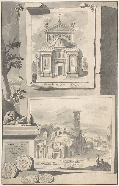 Fascinating Historical Picture of Jan Goeree with A Reconstruction of the Temple of Romulus and Remus (above) and a View of the Ruins (below) in 1704