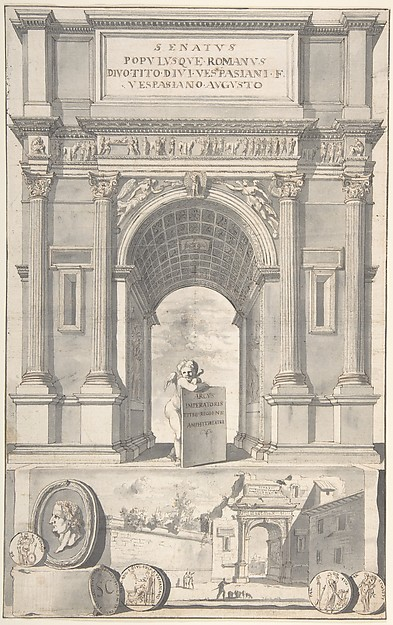 Fascinating Historical Picture of Jan Goeree with A Reconstruction of the Arch of Titus (above) and a View of the Ruins (below) in 1704