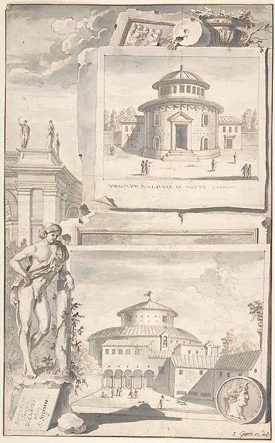 Fascinating Historical Picture of Jan Goeree with A Reconstruction of the Temple of Divus Claudius in Monte Coelio (above) and a View of the Ruins (be in 1704