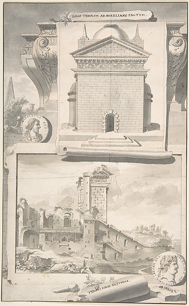 Fascinating Historical Picture of Jan Goeree with A Reconstruction of the Aurelian Temple of the Sun (above) and a View of the Ruins (below) in 1704