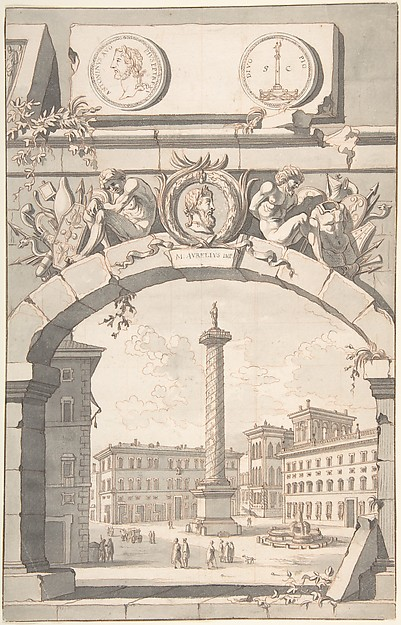 Fascinating Historical Picture of Jan Goeree with View of the Column of Marcus Aurelius in 1704
