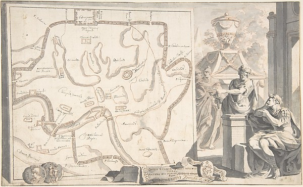 Fascinating Historical Picture of Jan Goeree with Map of Ancient Rome Illustrating Major Monuments and the Seven Hills in 1704