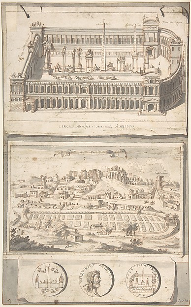 Fascinating Historical Picture of Jan Goeree with Reconstruction of the Circus Maximus (above) and a View of the Site (below) in 1704