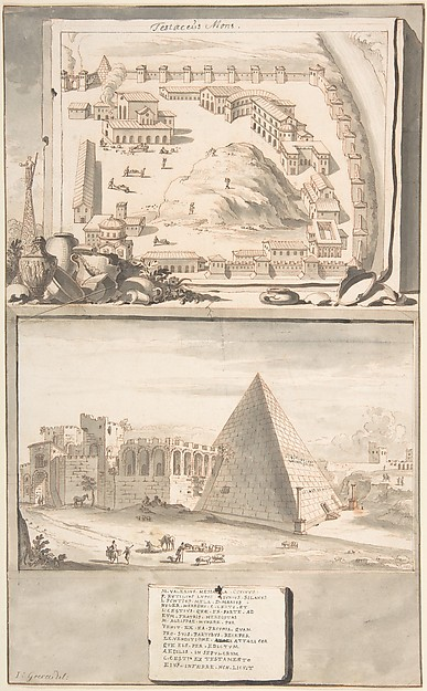 Fascinating Historical Picture of Jan Goeree with View of the Mons Testaceus (above) and the Pyramid of Cestius (below) in 1704