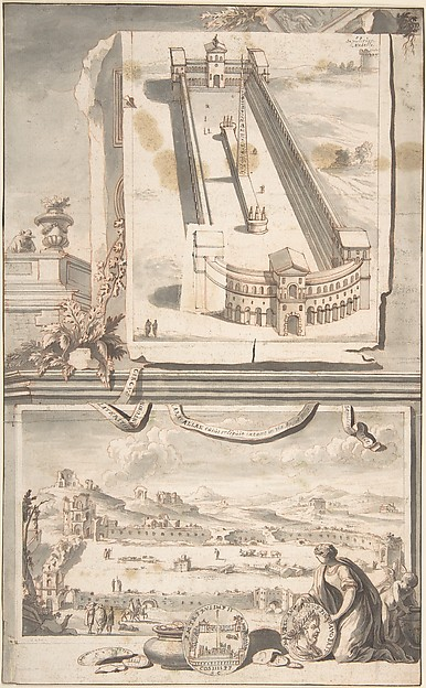 Fascinating Historical Picture of Jan Goeree with Reconstruction of the Circus of Caracalla (above) and a View of the Ruins (below) in 1704