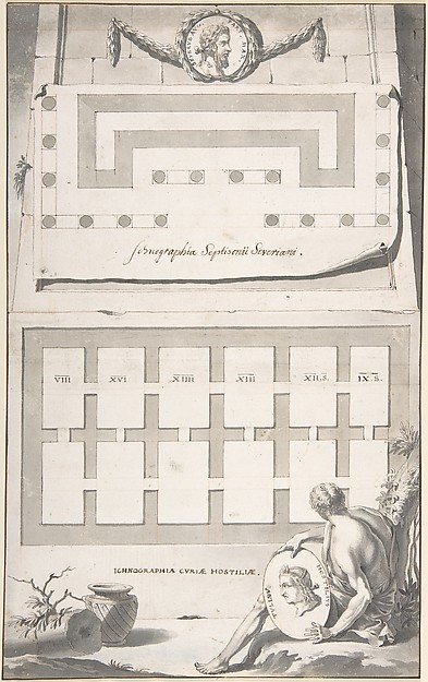 Fascinating Historical Picture of Jan Goeree with Ichnographia (or groundplan) of the Arch of Septimius Severus (above) and the Curia Hostilia (below) in 1704