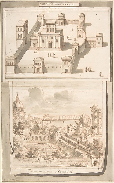 Fascinating Historical Picture of Jan Goeree with A Reconstruction of the Thermae of Novitian (above) and a View of the Ruins (below) in 1704
