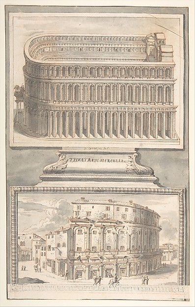 Fascinating Historical Picture of Jan Goeree with Reconstruction of the Theatre of Marcellus (above) and a View of the Ruins (below) in 1704
