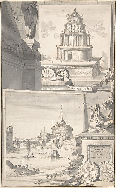 Fascinating Historical Picture of Jan Goeree with Reconstruction of the Mausoleum of Hadrian (above) and a View of the Castel S. Angelo (below) in 1704