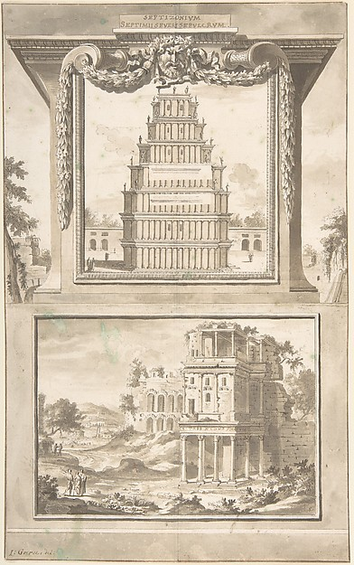 Fascinating Historical Picture of Jan Goeree with Reconstruction of the Monument to Septimius Severus (above) View of the Ruins (below) in 1704