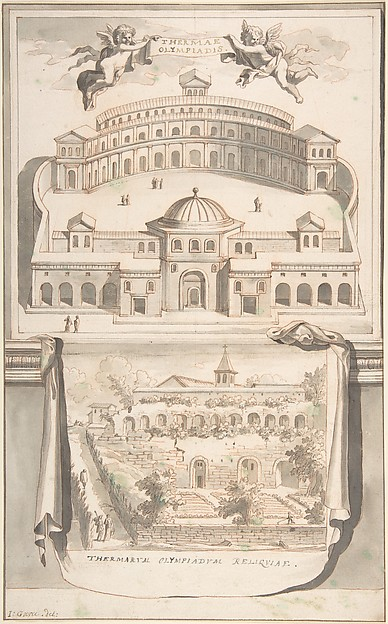 Fascinating Historical Picture of Jan Goeree with Reconstruction of the Thermae Olympiadis (above) and View of the Ruins (below) in 1704