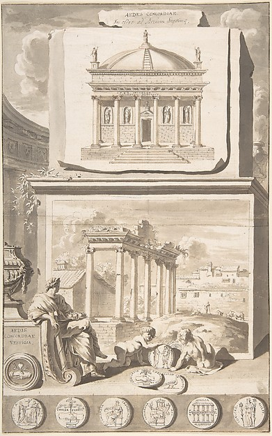 Fascinating Historical Picture of Jan Goeree with A Reconstruction of the Aedes Concordiae (above) and a View of the Ruins (below) in 1704