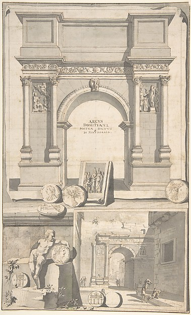 Fascinating Historical Picture of Jan Goeree with A Reconstruction of the Arch of Domitian (above) and View the Ruins (below) in 1704
