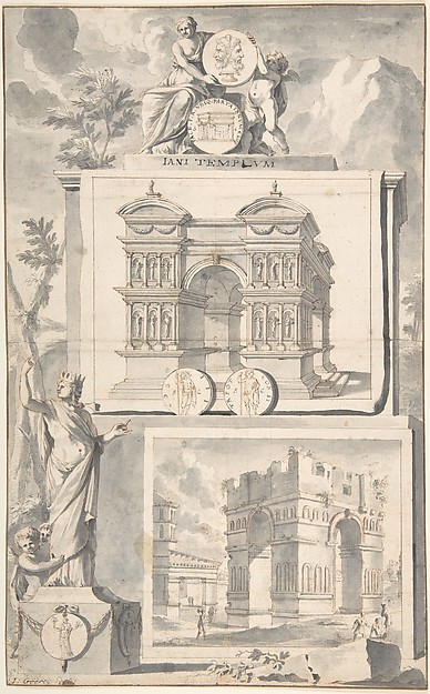 Fascinating Historical Picture of Jan Goeree with A Reconstruction of the Temple of Janus (above) and a View of the Ruins (below) in 1704