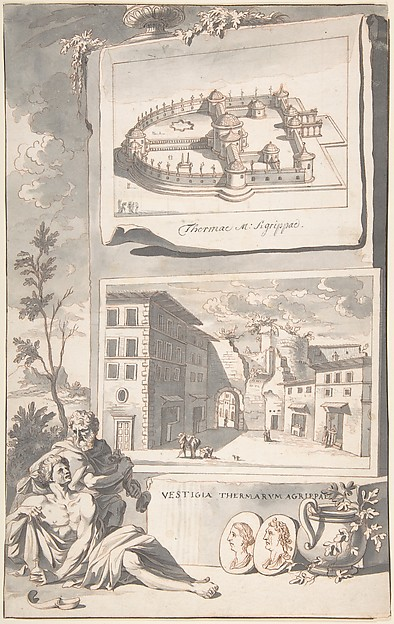Fascinating Historical Picture of Jan Goeree with A Reconstruction of the Thermae Agrippae (above) and a View of the Ruins (below) in 1704